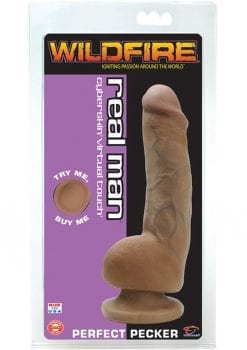 Wildfire Real Man Cyberskin Perfect Pecker 8 Inch Brown