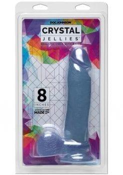 Crystal Jellies Ballsy Cock Silagel 8 Inch Clear