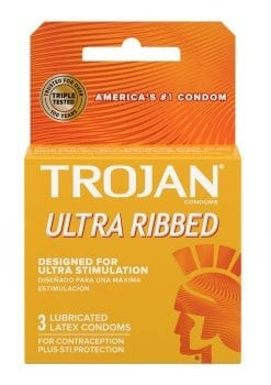 Trojan Condom Stimulations Ultra Ribbed Lubricated 3 Pack