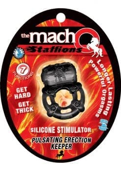 The Macho Stallions Pulsating Erection Keeper 7 Functions Silicone Waterproof Black
