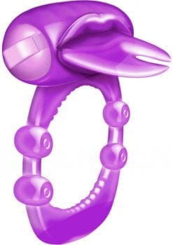 Forked Tongue Vibrating Silicone Cock Ring Waterproof Purple
