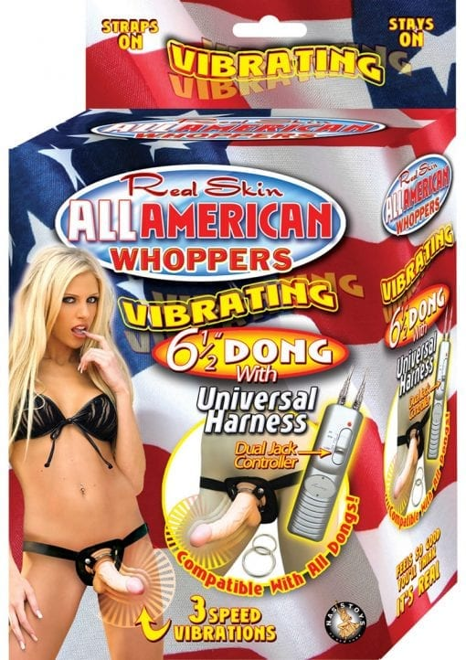 Real Skin All American Whoppers Vibrating Dong With Universal Harness 6.5 Inch Flesh