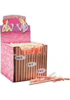 Bachelorette Party Favors Pecker Sipping Straws Flesh 144 Each Per Counter Display