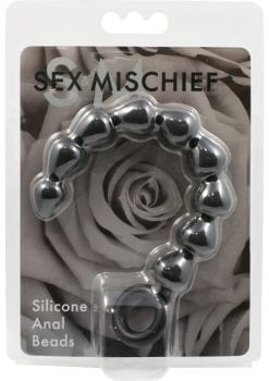 Sex And Mischief Silicone Anal Beads Black 9 Inches