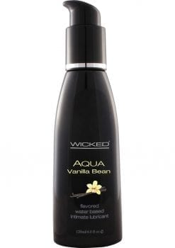 Wicked Aqua Flavored Water Based Lubricant Vanilla Bean 4 Ounce