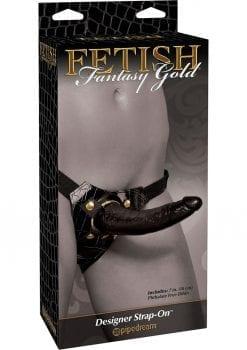 Fetish Fantasy Gold Designer Strap On Black/Gold 7 Inch