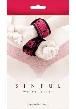 Sinful Wrist Cuffs Vinyl - Pink