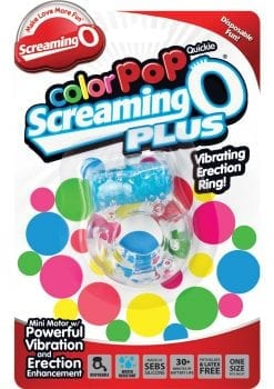 Color Pop Quickie Screaming O Plus Vibrating Ring Silicone Cockring Blue