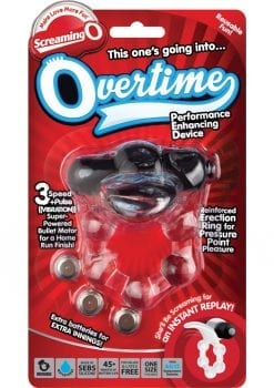 Overtime Silicone Vibrating Cockring Waterproof Black