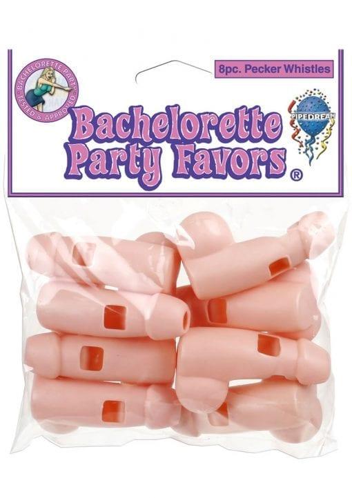 Bachelorette Party Favors Pecker Whistles 8 Pack Flesh