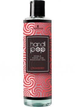 Sensuva Handi Pop Edible Hand Job Massage Gel Strawberry Flavored Lubricant 4.2oz