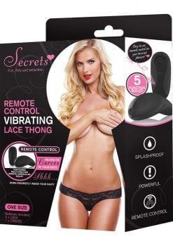 Secrets Remote Control Vibrating Lace Thong Black