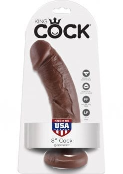 King Cock Realistic Dildo Brown 8 Inch