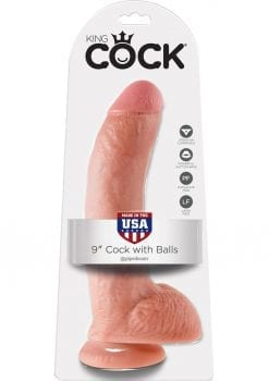 King Cock Realistic Dildo With Balls Flesh 9 Inch