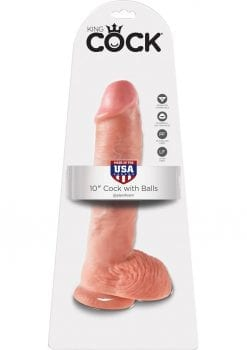 King Cock Realistic Dildo With Balls Flesh 10 Inch