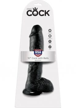 King Cock Realistic Dildo With Balls Black 10 Inch
