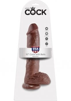 King Cock Realistic Dildo With Balls Brown 10 Inch