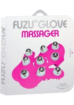 Fuzu Glove Massager 360 degree rolling balls  Length 6 Inches  Pink