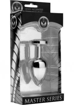 Master Series Jewel Accented Steel Anal Plug Chrome