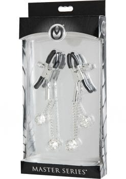 Master Series Ornament Adjustable Jewel Nipple Clamps Clear