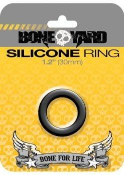 Bone Yard Silicone Ring Cockring Black 1.2 Inch Diameter