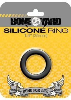 Bone Yard Silicone Ring Cockring Black 1.4 Inch Diameter