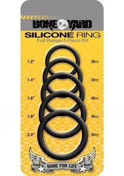 Bone Yard Silicone Ring Cockrings Black Full Range 5 Piece Kit