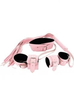 Strict Leather Bondage Set Leatherette And Faux Fur Pink And Black