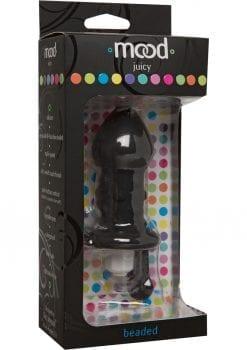 Mood Juicy Beaded Silicone Plug Waterproof Black 4.9 Inch