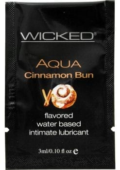Wicked Aqua Water Based Lube Cinnamon Bun Flavored And Scented 0.10FL OZ Foil 144/Bag