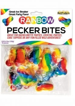 Rainbow Pecker Bites Hard Candy Fruit Flavor 16 Wrapped Pieces Per Bag