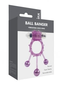 Linx Ball Banger Vibrating Cock Ring Textured Removable Bullet - Purple