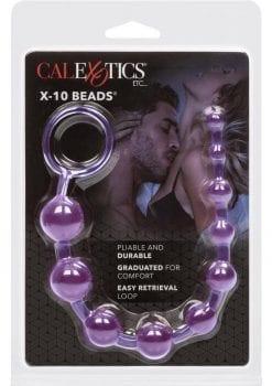X 10 Beads Graduated Anal Beads 11 Inch Purple