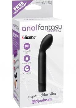Anal Fantasy Collection P-Spot Tickler Silicone Vibe Waterproof Black 4.75 Inch
