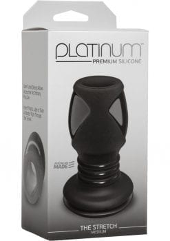 Platinum Premium Silicone - The Stretch - Medium Anal Expander Plug - Black