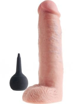 King Cock Squirting Dildo With Balls Dildo Waterproof Flesh 10 Inches