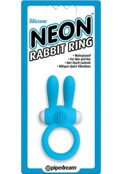 Neon Silicone Rabbit Ring Waterproof Blue