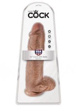 King Cock Realistic Dildo With Balls Tan 12 Inch