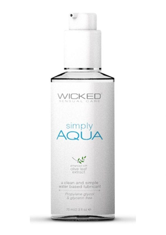 Wicked Simply Aqua Water Based Lubricant With Olive Leaf Extract 2.3oz