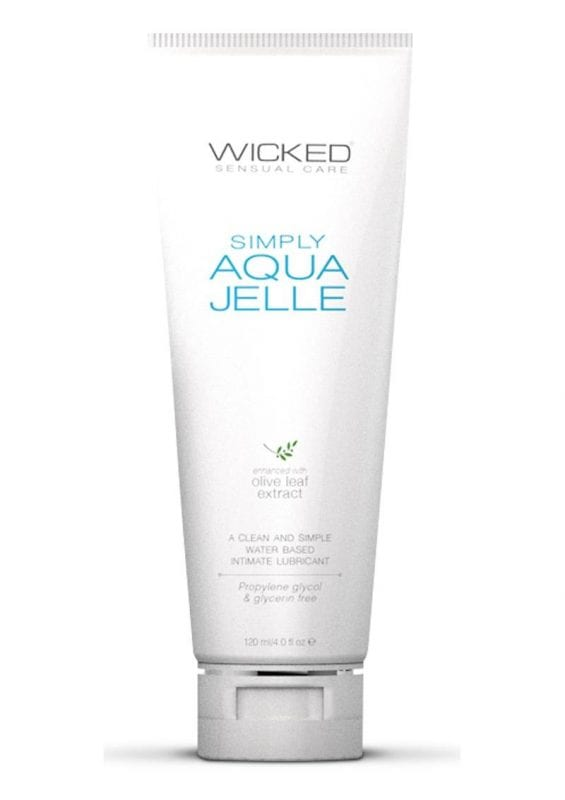 Wicked Simply Aqua Jelle Water Based Lubricant With Olive Leaf Extract 4oz Tube