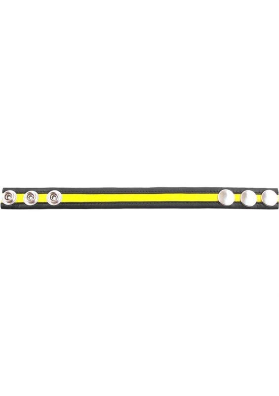 Rouge Leather Adjustable Cock Strap - Black And Yellow
