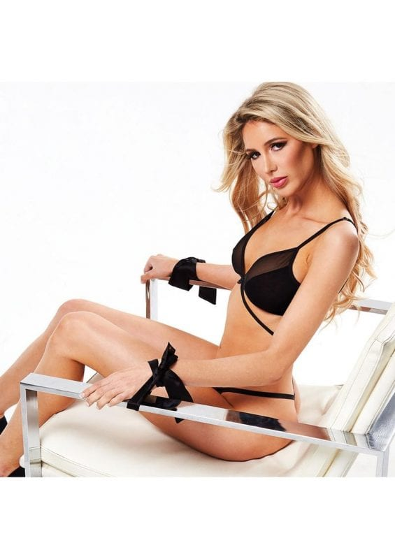 Secret Kisses Sensual Satin and Lace Ties - Black