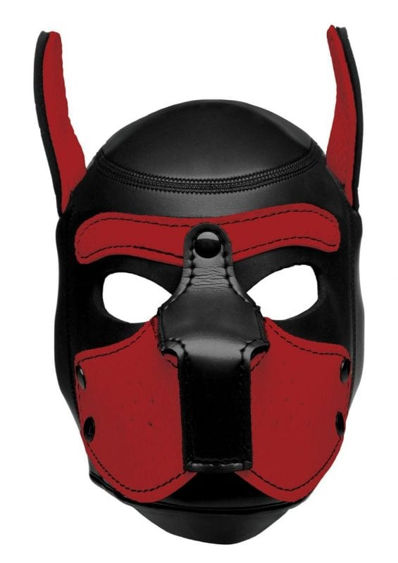 Master Series Spike Neoprene Puppy Hood - Red and Black