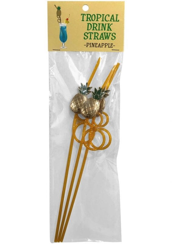 Tropical Drinking Straw - Pineapple (3 Per Pack)