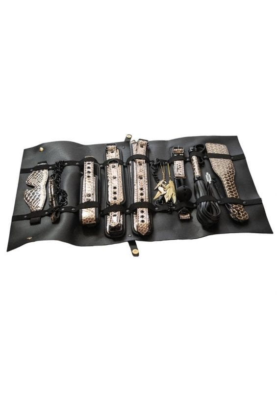 The Traveler Restraint andamp; Bondage Play Kit (Set of 10) - Gold/Black