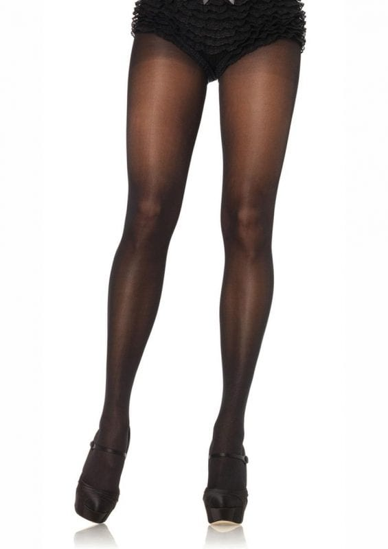 Leg Avenue Sheer to Waist Tights With Cotton Crotch - Plus Size - Black