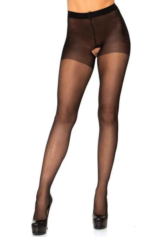 Leg Avenue Sheer Nylon Crotchless Pantyhose - OS - Black