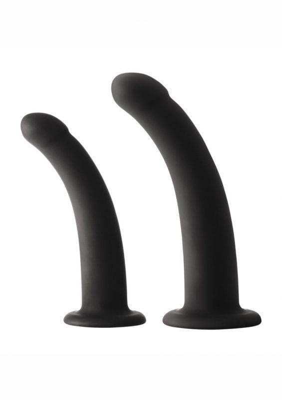 Shi/Shi Sugar/Sugar Silicone Strap-On Compatible Dongs Black 2 Piece Set 5 Inch And 6 Inch