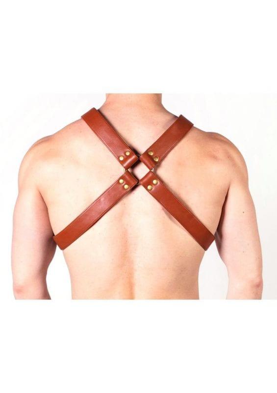 Prowler Red X Chest Harness - Medium - Brown/Brass