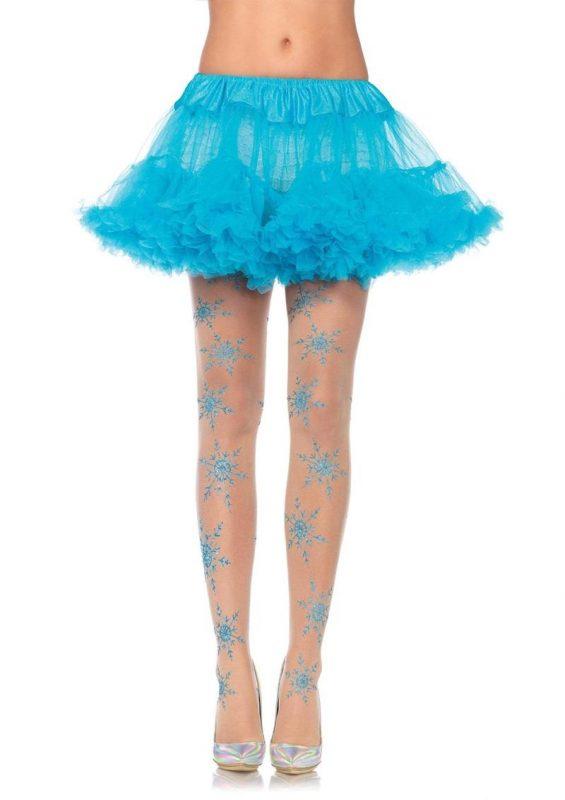 Leg Avenue Let It Snow Spandex Sheer Glitter Snowflake Pantyhose - O/S - Nude/Blue